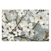 Artissimo Cheery Blossoms I Blue Canvas Wall Art