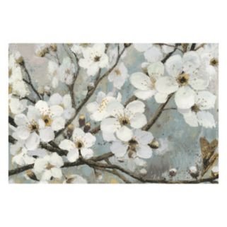 Artissimo Cheery Blossoms I Blue Canvas Wall Art