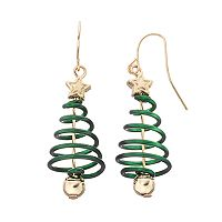 Spiral Christmas Tree Drop Earrings
