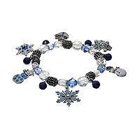 Snowflake, Snowman & Jingle Bell Charm Stretch Bracelet