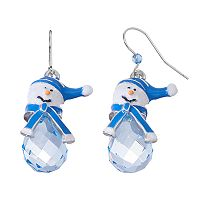 Beaded Snowman Drop Earrings