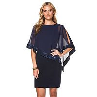 Women's Chaps Sequin Cold-Shoulder Chiffon-Overlay Evening Dress