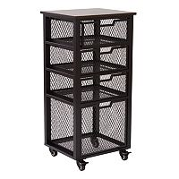 OSP Designs Garret Black 4-Drawer Rolling Cart