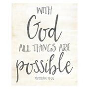 Artissimo 'With God All Things Are Possible' Canvas Wall Art
