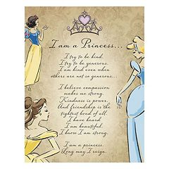 Disney Princess 'I Am A Princess' Glitter Canvas Wall Art