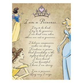 "Disney Princess ""I Am A Princess"" Glitter Canvas Wall Art"