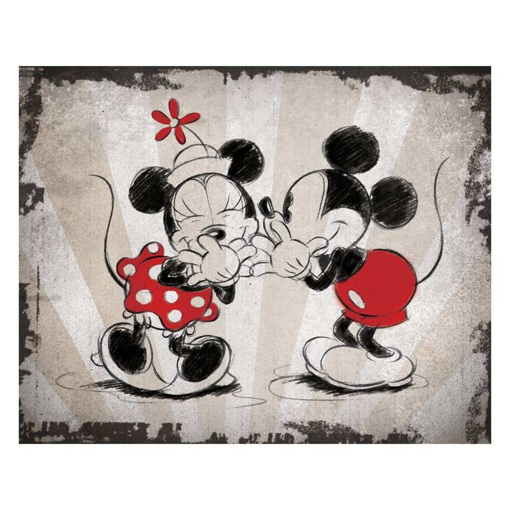 Mickey Mouse Wall Art mickey mouse & minnie mouse laughing canvas wall art