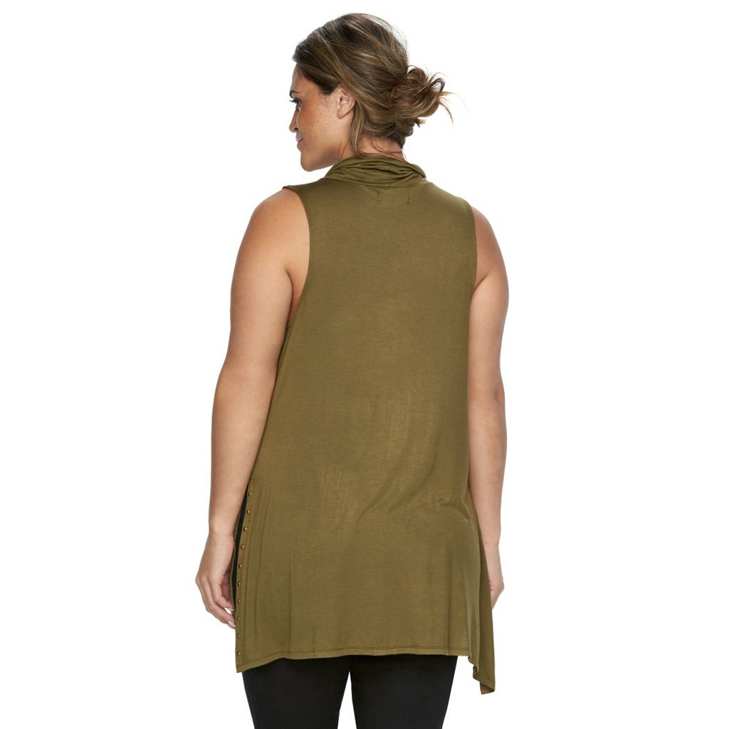 Plus Size Rock & Republic® Embellished Drapeneck Tunic