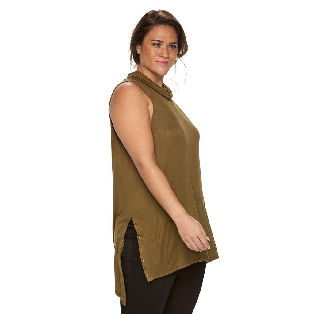 Plus Size Rock & Republic® Embellished Drapeneck Tunic