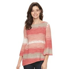Petite Dana Buchman Striped Tape-Yarn Sweater