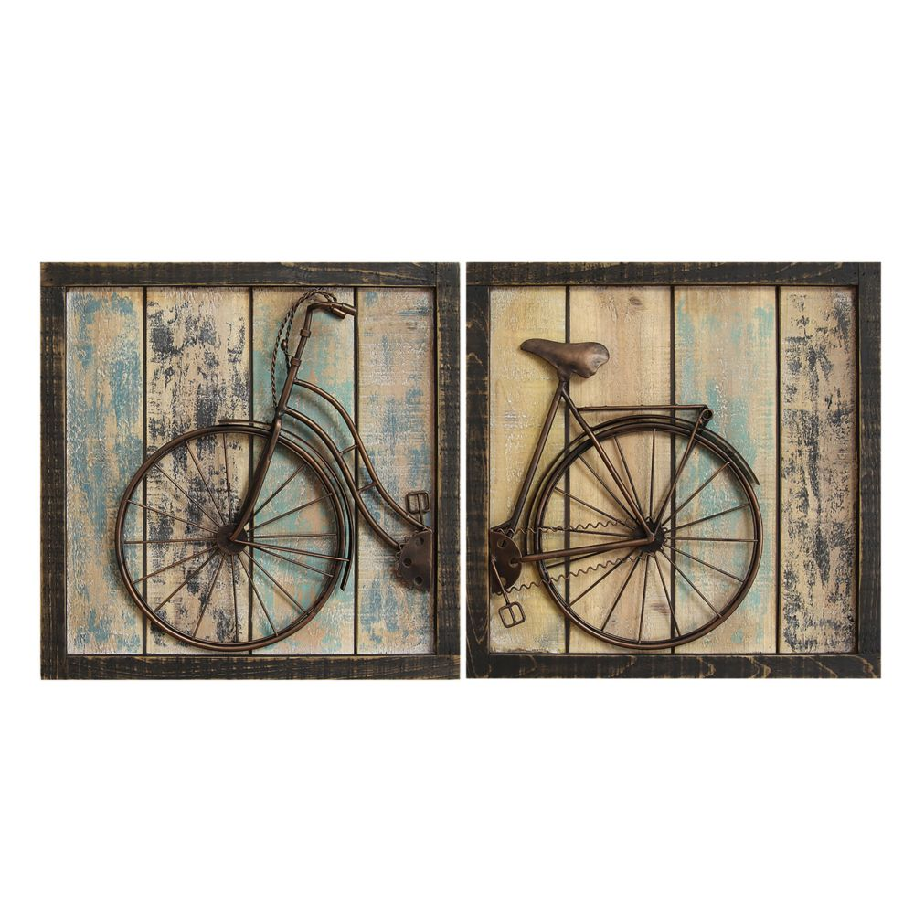 home decor distressed bicycle wall decor 2-piece set