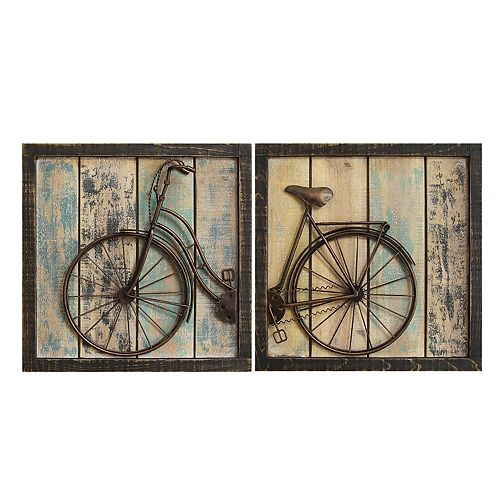 Stratton Home Decor Distressed Bicycle Wall Decor 2-piece Set