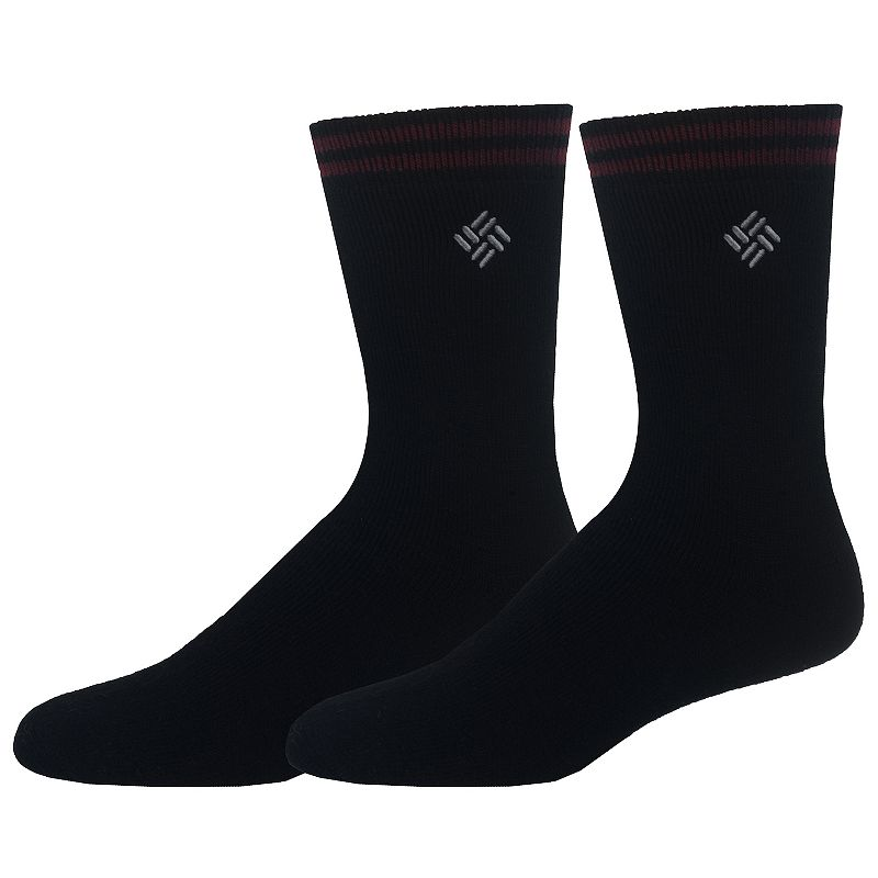 Men's Columbia Thermal Crew Socks, Size: 10-13, Black Warm and comfortable, Columbia thermal crew socks are a perfect choice for exceptionally cold days Cushioned Sole Fits shoe size: 10-13 Fabric & Care Polyester, acrylic, wool, rubber Machine wash Imported Color: Black. Gender: Male. Age Group: Adult. Pattern: Solid. Material: Cotton Blend.