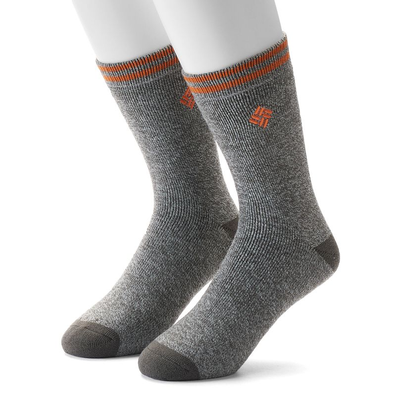 Men's Columbia Thermal Crew Socks, Size: 10-13, Grey Warm and comfortable, Columbia thermal crew socks are a perfect choice for exceptionally cold days Cushioned Sole Fits shoe size: 10-13 Fabric & Care Polyester, acrylic, wool, rubber Machine wash Imported Color: Grey. Gender: Male. Age Group: Adult. Pattern: Solid. Material: Cotton Blend.