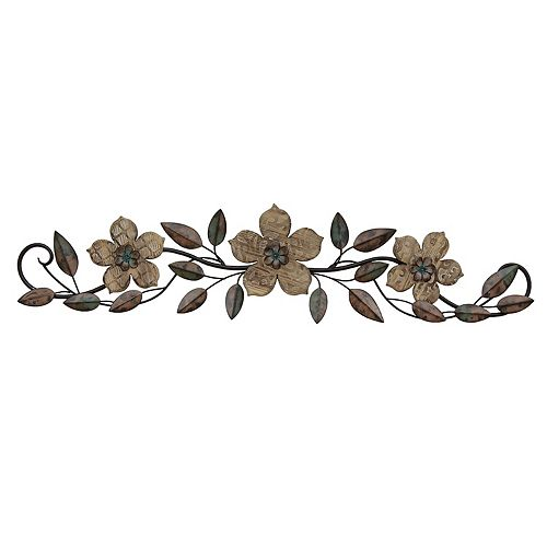 Stratton Home Decor Floral Metal & Wood Wall Decor