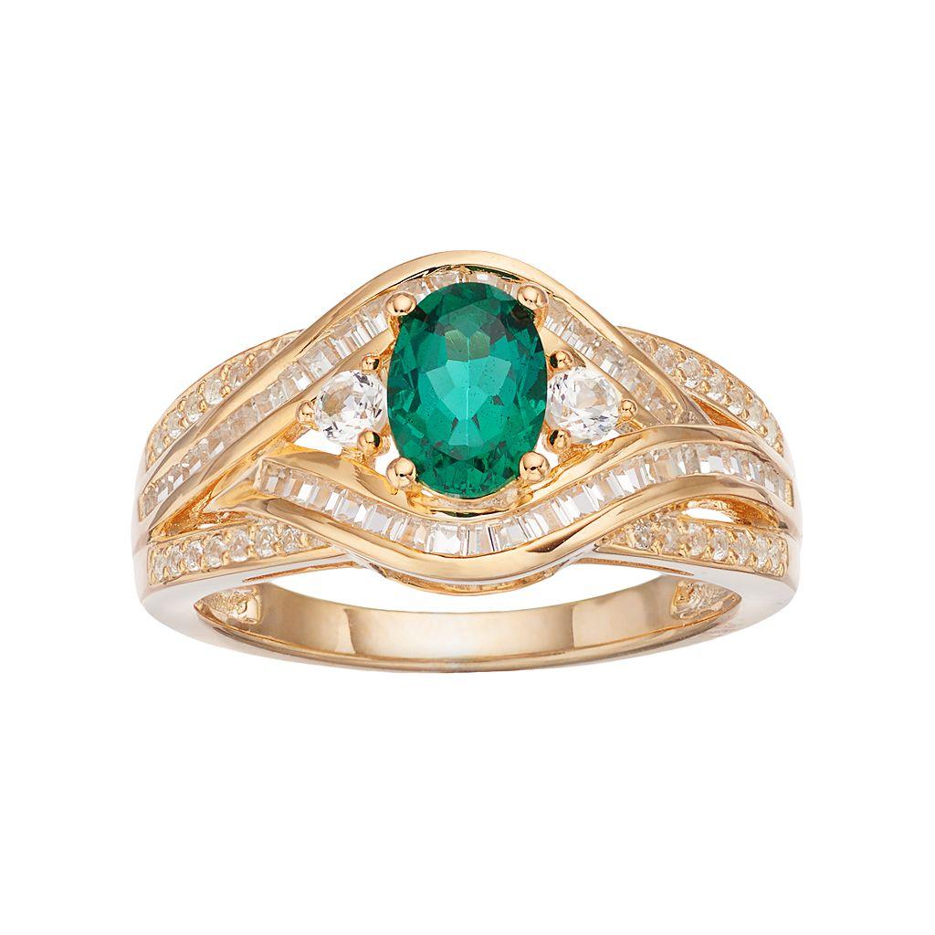 10k Gold 3/8 Carat T.W. Diamond & Emerald Twist Ring