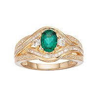 10k Gold 3/8 Carat T.W. Diamond & Emerald Twist Ring