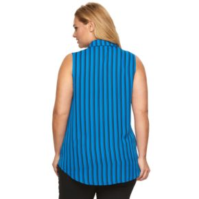 Plus Size Dana Buchman Pintuck Striped Blouse