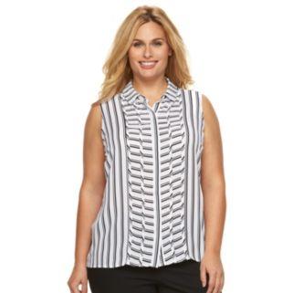 Plus Size Dana Buchman Pintuck Striped Blouse