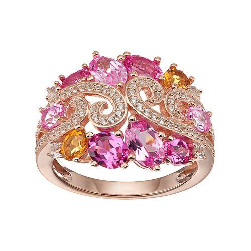 Sterling Silver Gemstone Swirl Ring