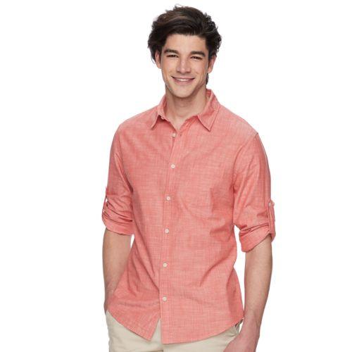 Men's Urban Pipeline® Roll-Tab Chambray Button-Down Shirt