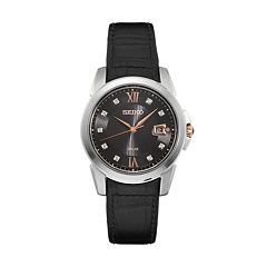 Seiko Men's Le Grand Sport Diamond Leather Solar Watch - SNE427