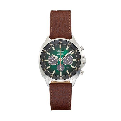 Seiko Men's Recraft Leather Chronograph Solar Watch - SSC513