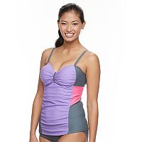 Women's Free Country Colorblock Mesh Tankini Top
