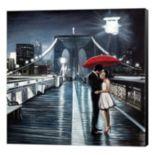 Metaverse Art Kissing on Brooklyn Bridge Canvas Wall Art