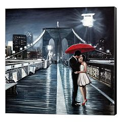 Metaverse Art Kissing on Brooklyn Bridge Canvas Wall Art
