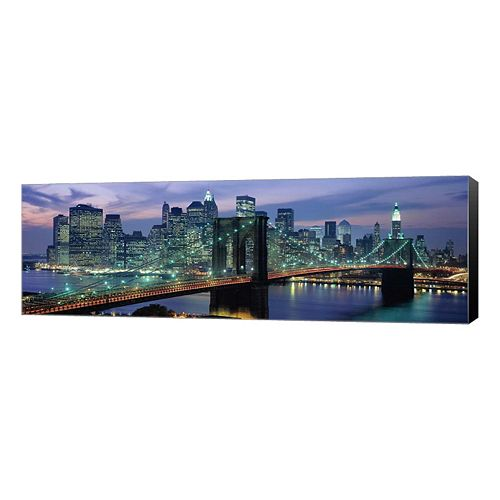 Metaverse Art Brooklyn Bridge & Skyline Canvas Wall Art