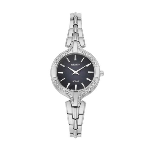 Seiko Women's Recraft Crystal Stainless Steel Solar Watch - SUP345