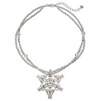 Snowflake Pendant Beaded Double Strand Necklace