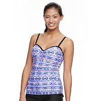 Women's Free Country Printed Ruched Tankini Top