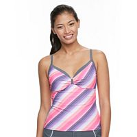 Women's Free Country Striped Underwire Tankini Top