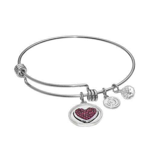 "love this life Crystal ""Dream"" Heart Charm Bangle Bracelet"