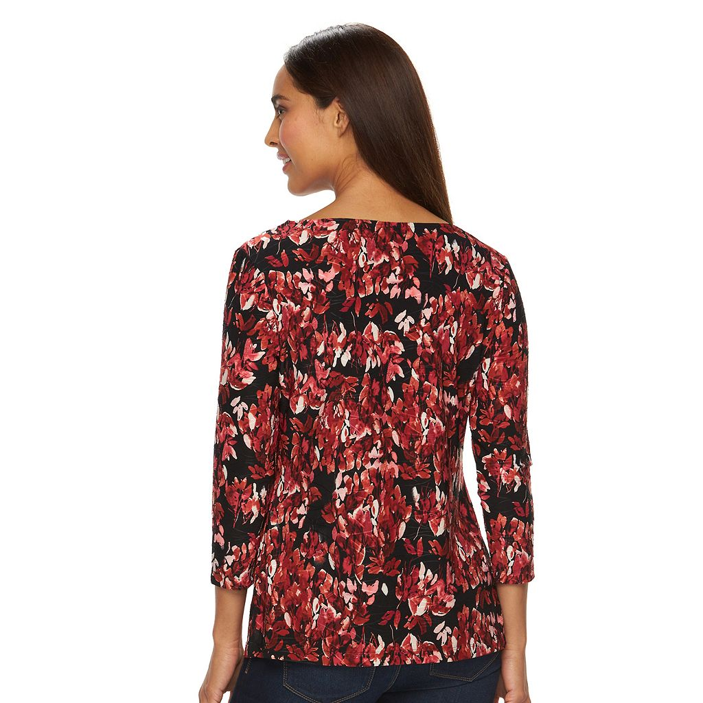 Women's Croft & Barrow® Boatneck Jacquard Top