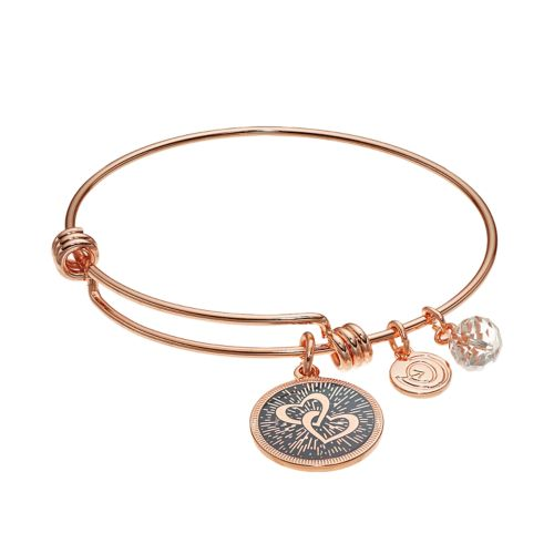 "love this life ""Mothers & Daughters"" Heart Charm Bangle Bracelet"