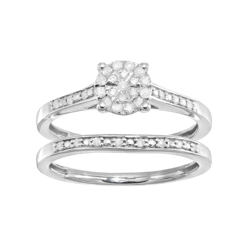 Sterling Silver 1 5 Carat T W Diamond Cluster Engagement Ring Set
