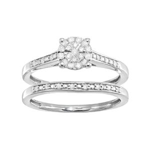 Sterling Silver 1/5 Carat T.W. Diamond Cluster Engagement Ring Set