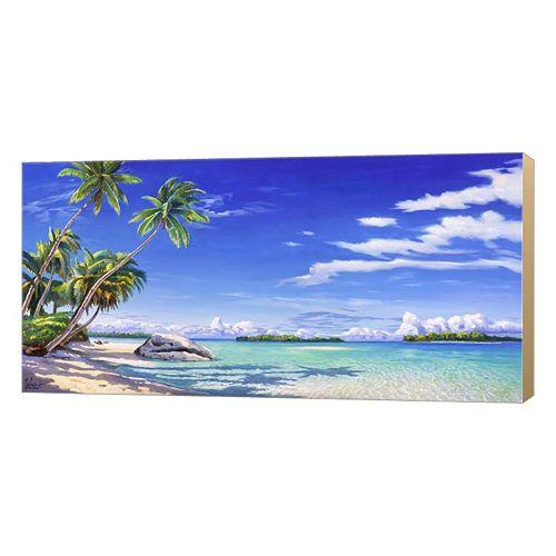 Metaverse Art Spiaggia Tropicale Canvas Wall Art