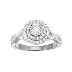 Sterling Silver Cubic Zirconia Halo Engagement Ring