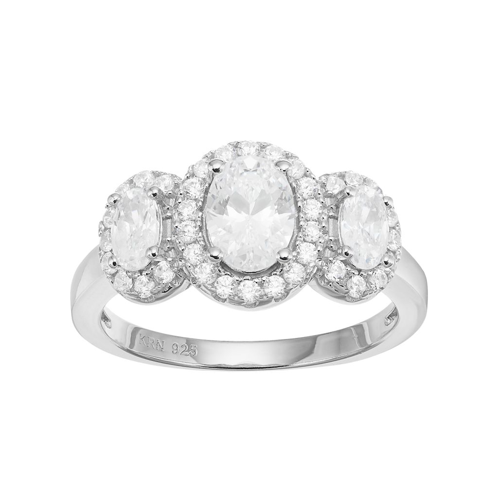 Sterling Silver Cubic Zirconia 3-Stone Halo Engagement Ring