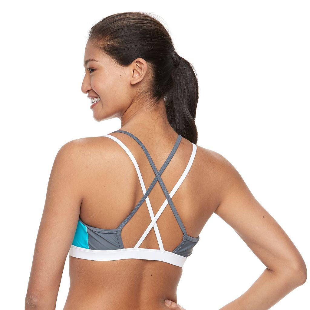Women's Free Country Colorblock Crisscross Bikini Top