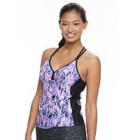 Women's Free Country Printed T-Back Tankini Top