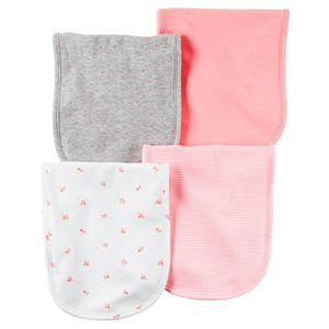 Baby Girl Carter's 4-pk. Print & Solid Burp Cloths