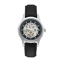 Armitron Men's Leather Automatic Skeleton Watch - 20/5169BKSVBK
