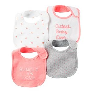 Baby Girl Carter's 4-pk. Print & Embroidered Bibs