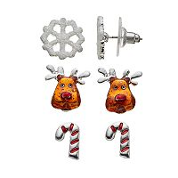 Candy Cane, Snowflake & Reindeer Stud Earring Set