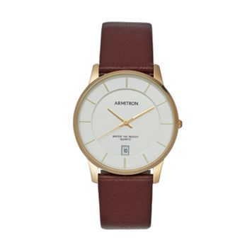 Armitron Men's Leather Watch - 20/5190SVGPBN